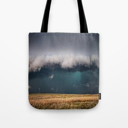 Small - Large Storm Towering Over Windmill in Texas Tote Bag