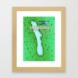 Lake Bourget Jura Mountains department of Savoie, France Map Art Print Framed Art Print