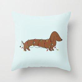 SAUSAGE DOG CHRISTMAS TREE Throw Pillow