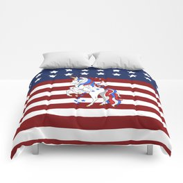 American Flag Stars and Stripes Unicorn Comforters