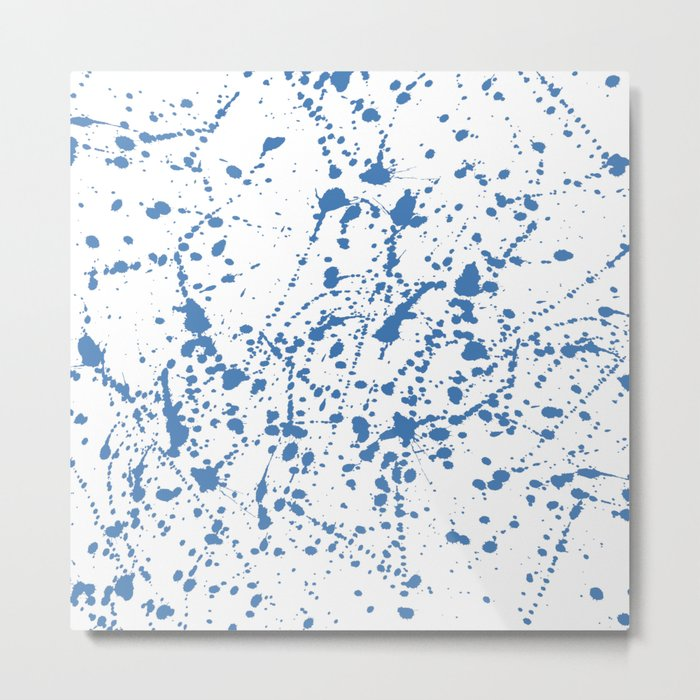 Splat Blue on White Metal Print