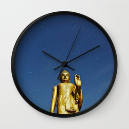 Moonlight Standing Buddha over starry sky (night shot) Wall Clock