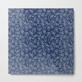 Seamless Christmas Lights (Blue) Metal Print