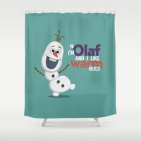 olaf Shower Curtains featuring Olaf by An Illustrated Dream