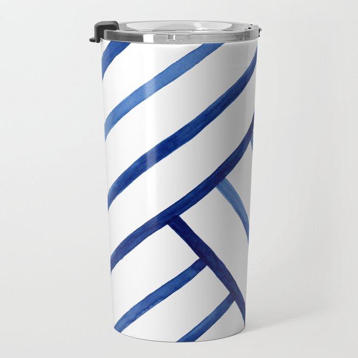 Watercolor lines pattern | Navy blue Travel Mug