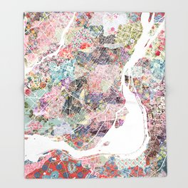 Montreal map canada Throw Blanket