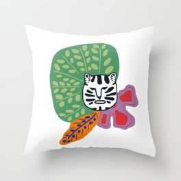 White tiger and tropical plants  Throw Pillow
