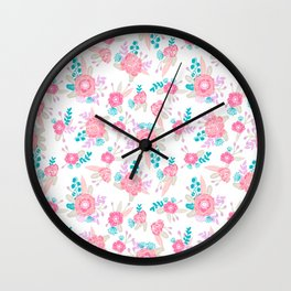 Florals bright modern color palette nursery home decor flower bouquet pattern Wall Clock