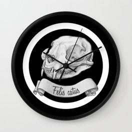 Cat skull in ink Wall Clock