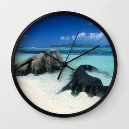 Seychelles Tropical Island Paradise White Sand Beach Wall Clock