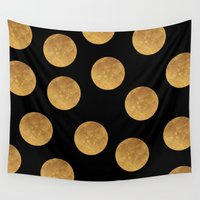 polkadot Wall Tapestries featuring GOLD POLKADOT 1 by wlydesign