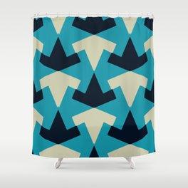 Geometric pattern summer blue invert Shower Curtain