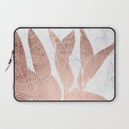 Modern faux Rose gold leaf tropical white marble illustration Laptop Sleeve