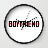 boyfriend Wall Clocks featuring Anti Boyfriend by RexLambo