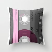 cassette Throw Pillows featuring Cassette by Sedef Uzer
