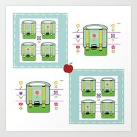 backpack Art Prints featuring Backpack  Quilt -Apple by Drape Studio