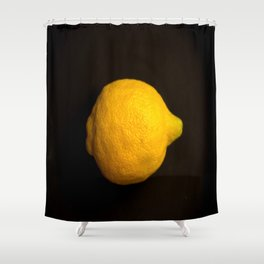 Yellow Lemon On A Black Background #decor #society6 Shower Curtain