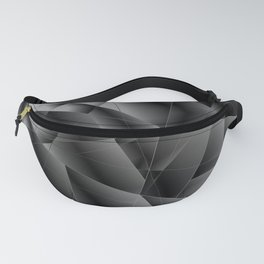 Exclusive deep diagonal pattern of chaotic black and white fragments of glass, metal, glare. Fanny Pack