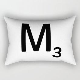 Letter M - Custom Scrabble Letter Tile Art - Scrabble M Initial Rectangular Pillow