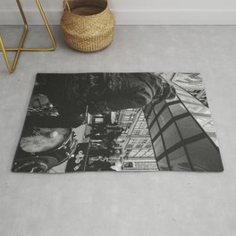 Street Drummer black and white Photography Rug