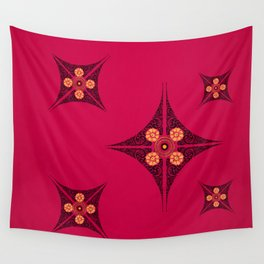 Pata Pattern in Black on Pink Wall Tapestry