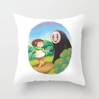 chihiro Throw Pillows featuring Chihiro and No-Face by MTerrenal
