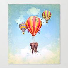 Elephant first fly Canvas Print
