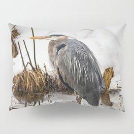 Heron pose along the bank Pillow Sham