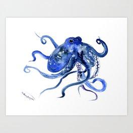 Octopus Design Blue Navy Blue Beach, cute ocotpus texture art Art Print