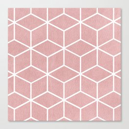 Blush Pink and White - Geometric Textured Cube Design Canvas Print