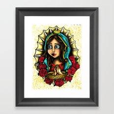 Lady Of Guadalupe (Virgen de Guadalupe) WHITE VERSION Framed Art Print