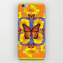 ORNATE YELLOW MONARCH BUTTERFLIES & YELLOW SUNFLOWERS iPhone Skin