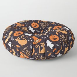 Halloween party illustrations orange, black Floor Pillow