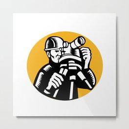 Surveyor Geodetic Engineer Woodcut Metal Print