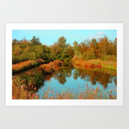 Autumn Colors Pond and Trees Art Print