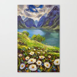 Shore of flowers on lake in mountains - original oil painting by Rybakow Canvas Print