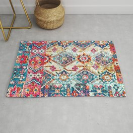 N245 - Vintage Oriental Bohemian Colored Traditional Moroccan Fabric Style Rug