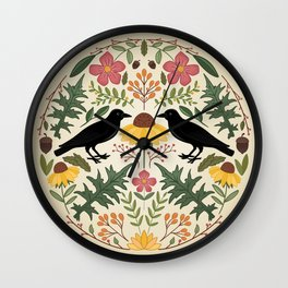 Crows, Wild Roses, Thistles And Sunflowers Wall Clock