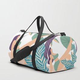Girl At Beach Having Summer Fun Duffle Bag