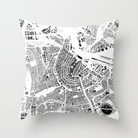 amsterdam Throw Pillows featuring AMSTERDAM by Maps Factory