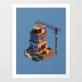 Voxel House Art Print