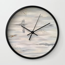 Neutral Driftwood Light Gray Abstract Beachy Painting Wall Clock