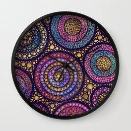 Dot Art Circles Pastels and Golds Wall Clock