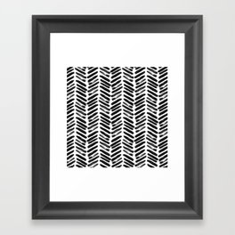 Simple black and white handrawn chevron - horizontal Framed Art Print