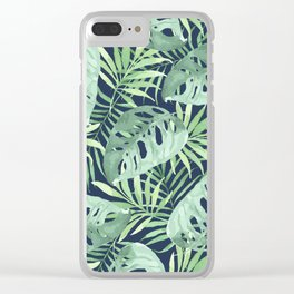 Tropical Branches on Dark Pattern 03 Clear iPhone Case