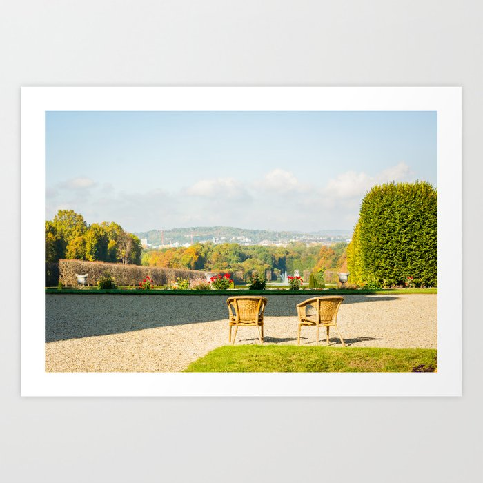 A couple of chairs on the top of a lookout watching the landscape I Art Print