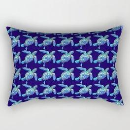 Sea Turtle Pattern Blue Rectangular Pillow