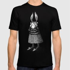 Rabbit - Girl Mens Fitted Tee Black LARGE