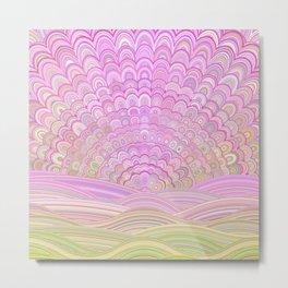 Pink Sunrise Mandala Metal Print