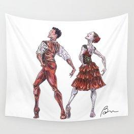 Marianela Nunez and Carlos Acosta as Kitri and Basil, act 1 Wall Tapestry